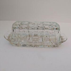 Vintage Kitchen - Vintage crystal covered butter dish